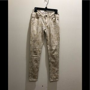 Tan and gold color jeans pants